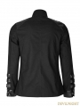 Black Gothic Loop Military Uniform Long Sleeve Shirt for Men