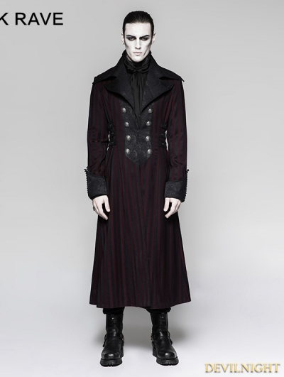 Red Gentleman Steampunk Stripe Long Coat for Men