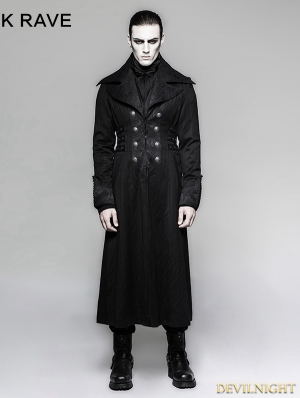Black Gentleman Steampunk Stripe Long Coat for Men