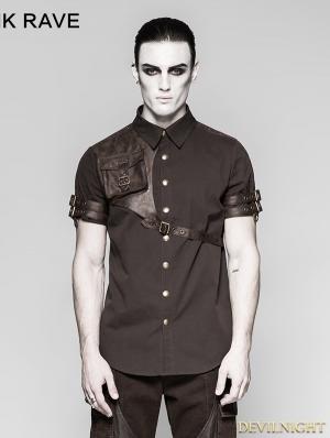 Coffee Steampunk Messenger Bag Shirt for Men