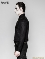 Black Heavy Metal Gothic Punk Shoulder Long Sleeve Shirt for Men