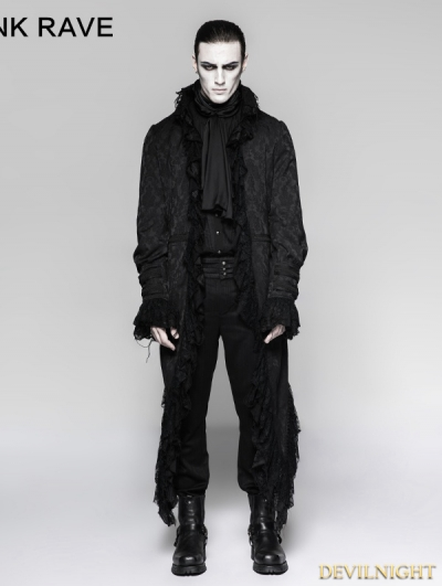 Black Gothic Decadent Long Coat for Men
