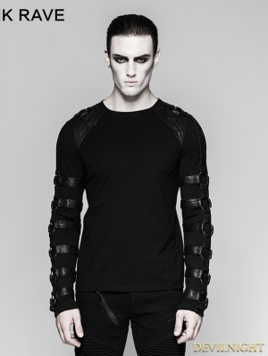 Black Gothic Iron man heavy metal long sleeve T-shirt for Men