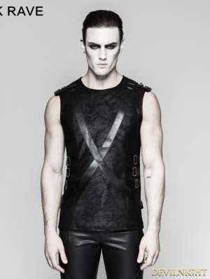 Black Gothic PU Leather Sleeveless Military Uniform T-Shirt for Men