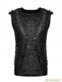 Black Gothic PU Leather Sleeveless Military Uniform T-Shirt for Men