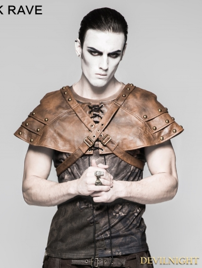 Coffee Mechanical Steampunk Armor Cape for Men