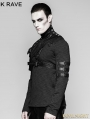 Black Mechanical Steampunk Armor Short Jacket for Men