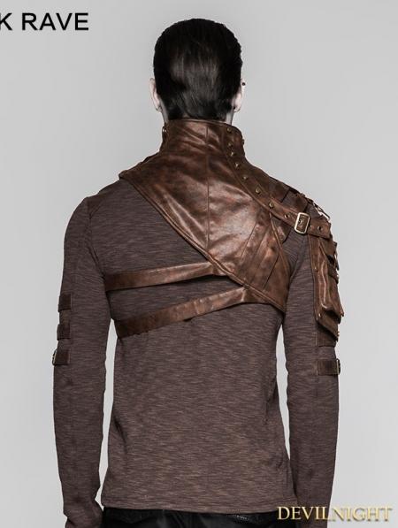 Coffee Mechanical Steampunk Armor Short Jacket For Men