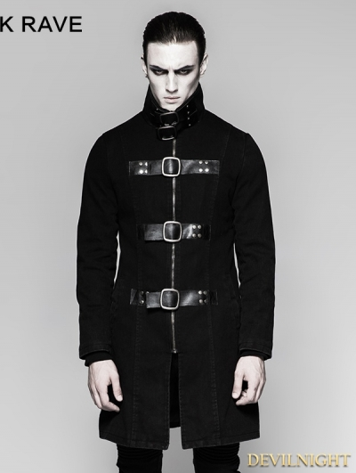 Black Gothic Punk Multiple Loops Denim Simple Jacket for Men