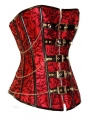 Red Pattern Rivet Steampunk Corset