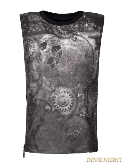 Black Steampunk Digital Printing Sleeveless T-shirt for Men