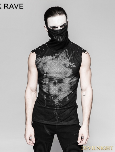 Black Gothic Punk Skull Backless Ghost T-shirt for Men