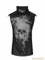 Black Gothic Punk Skull Backless Ghost T-shirt for Men