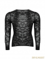 Black Gothic Hollow-out Strappy Sweater for Men