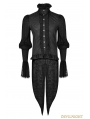 Black Gothic Dovetail Blouse for Men