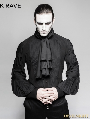Black Gothic Gentleman Blouse with Necktie