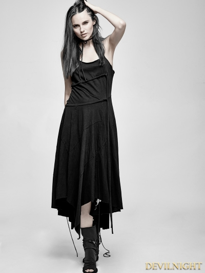 Black Gothic Suspender Asymmetric Long Dress