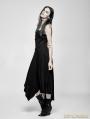 Black Gothic Suspender Asymmetric Long Dress