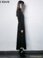Gothic Dark Cross Hollow-out Trumpet Sleeves Slim Long Dress