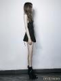 Black Gothic Split Waist Pleated Skirt