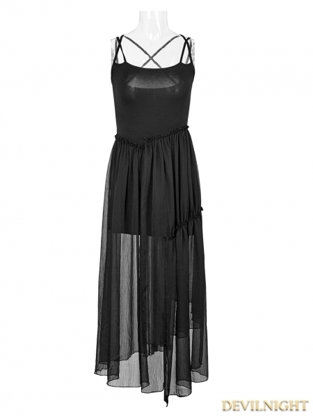Black Gothic Vintage Ballerina Two Pieces Sun Dress