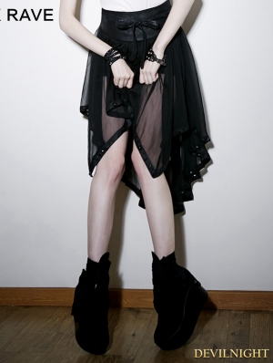 Black Gothic Chiffon Asymmetric Skirt