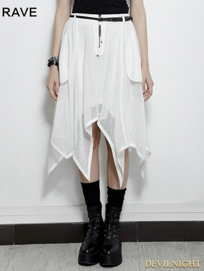 White Gothic Bat Irregular Skirt