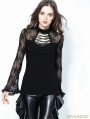 Black Gothic Lace Sleeve Sexy T-Shirt for Women