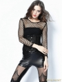 Black Gothic Sexy grid T-Shirt for Women