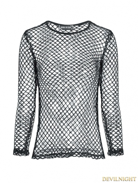 Black Gothic Sexy grid T-Shirt for Women - Devilnight.co.uk