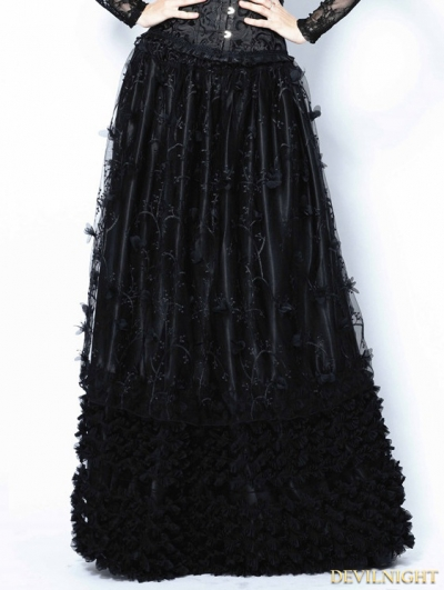 Black Gothic Flowers Lace Long Skirt