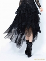 Black Gothic Punk Messy Mesh and Lace Skirt