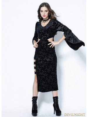 Black Gothic Flocking Long Sexy Dress
