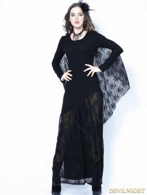 Black Gothic Bat Lace Sleeve Dress