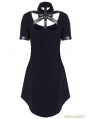 Black Gothic Hollow-out Doll Collar Tee Dress