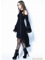 Black Gothic Tail Sexy Dress with Big Trumpet Sleeves