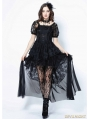 Black Gothic Lolita Puff Sleeves Lace Tail Dress