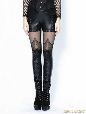 Black Gothic Spider Legging Pants for Women