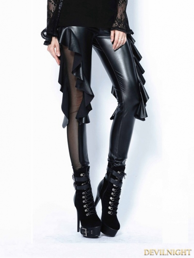 Black Gothic Sexy Flounce Legging Pants for Women