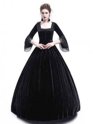 Black Velvet Marie Antoinette Queen Theatrical Victorian Dress