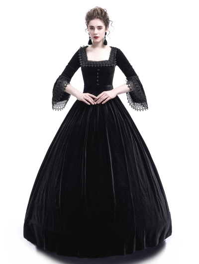Black Velvet Marie Antoinette Queen Theatrical Victorian Dress