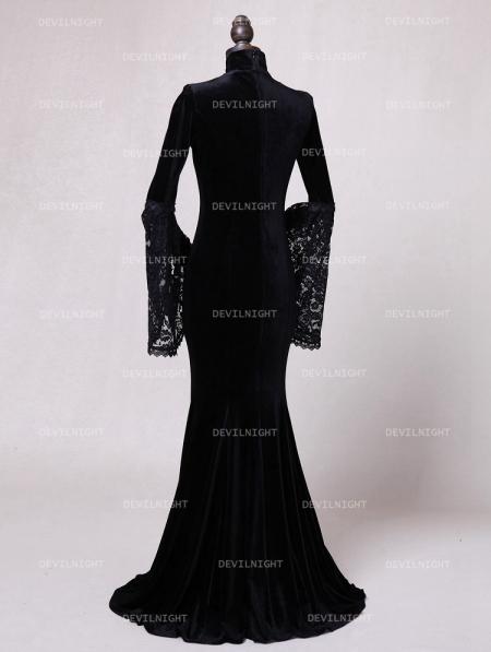 Black Velvet Dark Queen Morticia Addams Gothic Victorian