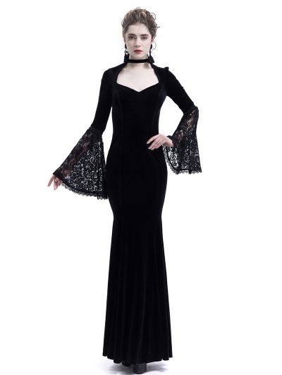 Black Velvet Dark Queen Morticia Addams Gothic Victorian Dress
