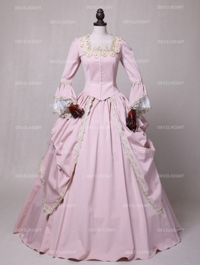 Pink Marie Antoinette Masked Ball Victorian Costume Dress