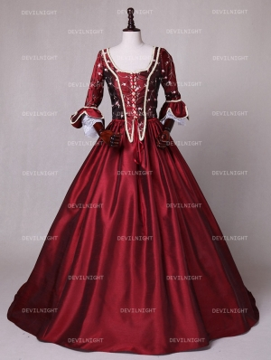 Red Renaissance Marie Antoinette Masquerade Victorian Ball Gowns