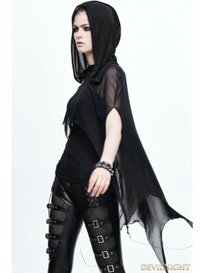 Black Gothic Bat Style Hooded Cape for Women