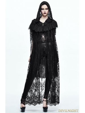 Black Gothic Lace Long Hooded Cape for Women
