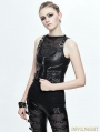 Black PU Gothic Pocket Top Vest for Women