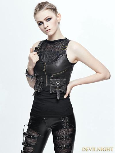 Bronze PU Gothic Pocket Top Vest for Women