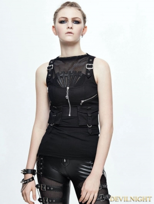 Black Gothic Pocket Top Vest for Women